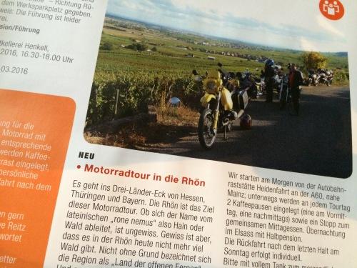 Motorrad-Touren im vhs-Programm 2016